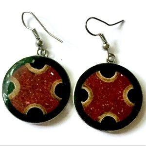 Inlaid Stone Red Black Dangle Earrings Vintage